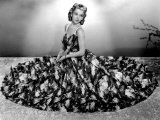 Carole Landis Modeling Seersucker Evening Gown in Seafoam with Accents of Pique 1940