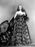 Deanna Durbin in Hoop Skirt Styled Lace Fabric Flowered Evening Dress Designed by Howard Greer