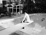 Michael Jackson at Home in Los Angeles by the Poolside  Sitting on Diving Board