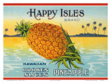 Happy Isles Brand  Pineapple Can Label  c1930s