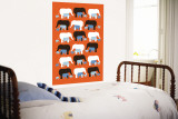 Orange Elephant Pattern