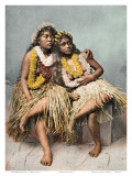 Hawaiian Hula Girls with Flower Leis  c 1880
