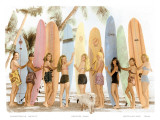 Hawaiian Surfer Girls  Hand Colored Photo