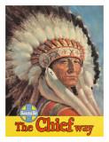 Santa Fe Railroad  The Chief Way  Native American Indian  c1955