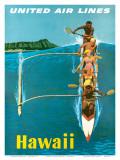 United Air Lines, Hawaii, Outrigger Canoe Reproduction d'art par Stan Galli