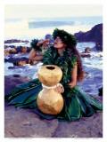 Grateful  Hula Girl with Ipu Drum  Hawaii