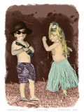 Let's Dance  Hand Colored Photo of Hawaiian Children