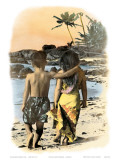 Young Sweethearts  Hand Colored Photo of Hawaiian Children