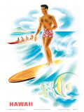 Matson Lines to Hawaii  Surfer and Outrigger  c1940s
