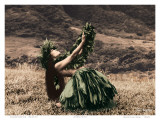 Offering to Pele, Hawaiian Hula Dancer Reproduction d'art par Alan Houghton