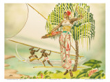 Island Beauty  Hawaiian Art Deco Airbrush 1940s