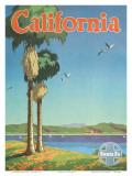 Santa Fe Railroad  California  Coastline and Spanish Mission  1940s