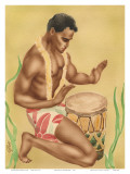 Hawaiian Kneeling Drummer  c1930s