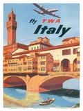 Fly TWA Italy, Florence, 1950s Reproduction d'art par Frank Lacano