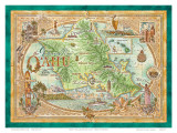 Oahu  The Gathering Place  Vintage Map of Oahu  Hawaii