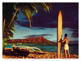 Outrigger & Diamond Head  Surfer  Oahu  Hawaii  c1951
