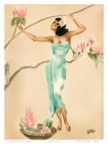 Magnolia  Hawaiian Woman with Flowers c1930s