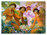 Hawaiian Hula  Women with Tropical Flowers