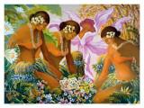 Hawaiian Hula  Women with Tropical Flowers
