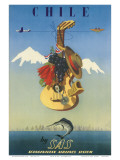 Scandinavian Airlines Chile  Gaucho Guitar  c1951