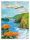 Hawaiian Airlines  Convair 340 Flying over Cliffs of Pololu Valley  Hawaii  c1953