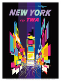Fly TWA New York c.1958 Reproduction d'art par David Klein