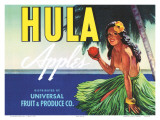 Hula Apples  Crate Label with Topless Hula Girl  c1930s