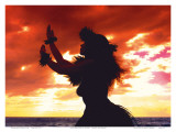 Hula Dancer Silhouette at Sunset