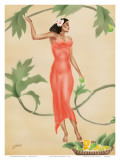 Hawaiian Lady with Red Dress c1930s