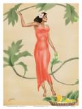 Hawaiian Lady with Red Dress c1930s