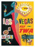 Fly TWA Las Vegas, c.1960 Reproduction d'art par David Klein