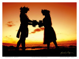 Love Gives Life Within  Hawaiian Hula Dancers at Sunset
