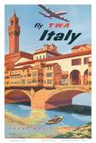 Fly TWA Italy  Florence  1950s