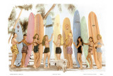 Hawaiian Surfer Girls  Hand Colored Photo