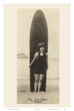 The Surf-Rider Hawaii  Girl with Surfboard  Photo Postcard c1920
