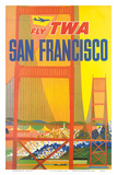 Fly TWA San Francisco, Golden Gate Bridge c.1958 Reproduction d'art par David Klein