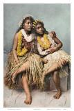 Hawaiian Hula Girls with Flower Leis  c 1880