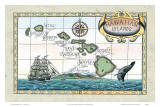 Vintage Style Map of the Hawaiian Islands