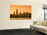 Lake Michigan and Skyline Including Sears Tower  Chicago  Illinois