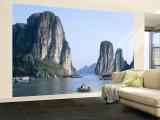 Halong Bay  Karst Limestone Rocks  House Boats  Vietnam