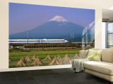 Mount Fuji  Bullet Train and Rice Fields  Fuji  Honshu  Japan