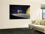 Artists Concept of Cassini During the Saturn Orbit Insertion Maneuver