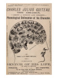 Phrenological Chart of the Brain of Charles J Guiteau  Assassin of President James Garfield  1880s