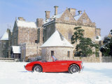 1956 Austin Healey 100M In Snow In Front Of Palace House  Beaulieu