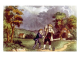 Benjamin Franklin Demonstrating the Identity of Lightning and Electricity  June 1752