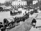 World War I  American 150th Field Artillery Passing Through Chateau Thierry to the Marne Salient
