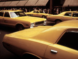 1970s America  Yellow Taxi Cabs on 5th Avenue Near 48th Street Manhattan  New York City  1972