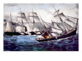 The Union Sloop of War Kearsarge Sinking the Confederate Ship Alabama  June 19  1864