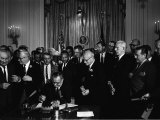 President Lyndon Johnson  Watched by Martin Luther King  Jr Signing Civil Rights Act  July 2  1964