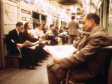 1970s America  Passengers on a Subway Car  New York City  New York  1972